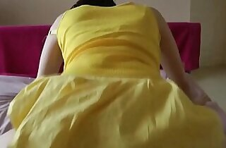 Plump wife fucks her ass with her yellow dress on at Porn Yeah