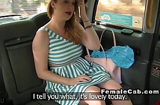 Lesbians with dildo in fake taxi