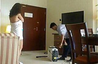 Flashing room service boy
