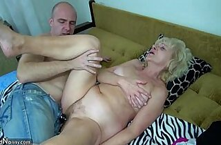 Old chubby Granny in the bed has sex with her horny man