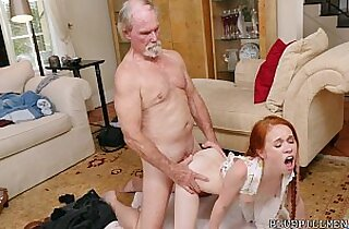 Cute Redhead Fucked by Viagra Grandpa