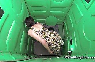 Porta Gloryhole teen hottie gets her fill of cum