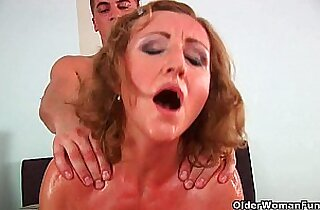 Grandma with cute titties gets double fucked by guy half her age