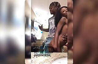 Tiny ebony harmony cage gets fucked deep stroked and nutted on by her sisters boyfriend Handsomedevan
