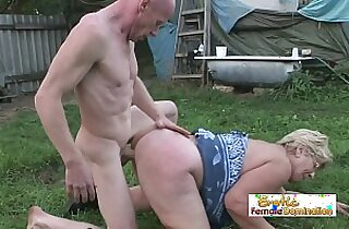Old lady gets her pussy stuffed by a nasty bald stud