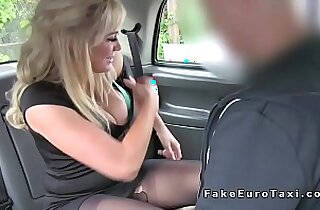 Blonde in pantyhose licks arse to cab driver