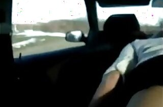 Me my cute white gf Heather fucking me in car back seat after work till both cum
