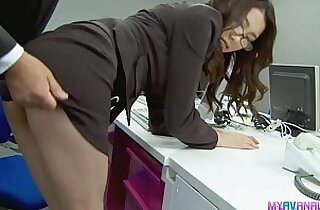 Sexy chick bending over and fucked hardcore by her boss
