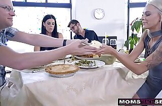 Mom Fucks Son Eats Teen anal Creampie For Thanksgiving Treat