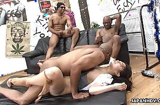 Three black men destroy the Asian pussy