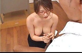 Stacked Japanese Teacher sucks her student off
