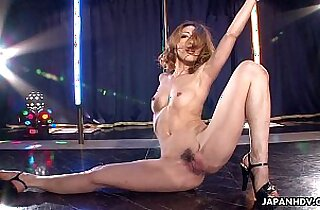 Asian getting wild on the pole as she masturbates