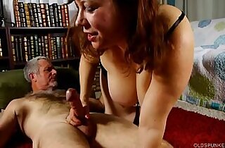 Super cute chubby old spunker loves cum all over her nice big tits