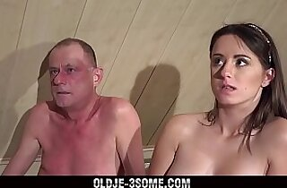 Virgins Jump on Grandpa Cock And fucks His Brains Out in Threesome Sex