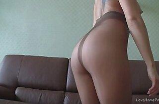 Blonde in nylons teasing on webcam
