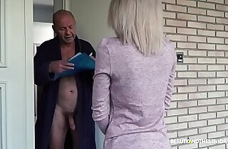 Old grandpa gets her horny and fucks the delivery girl